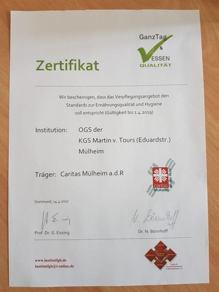 Zertifikat zur Hygiene und Ernährungsqualität - Martin-von-Tours-Schule
